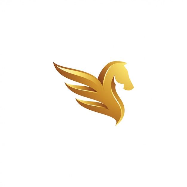 Gold pegasus logo Premium Vector