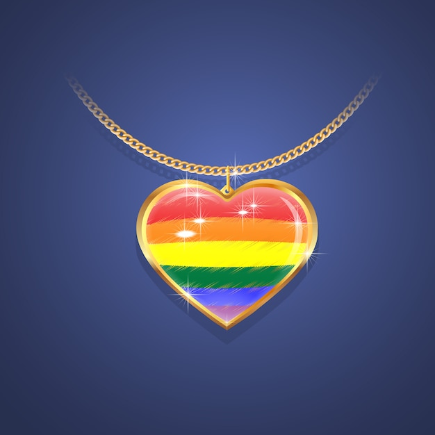 Gold pendants on a gold chain with the colors of the flag of pride, lgbt symbol. Premium Vector