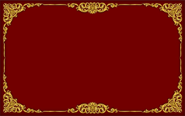 Gold photo frame with thai style border Premium Vector