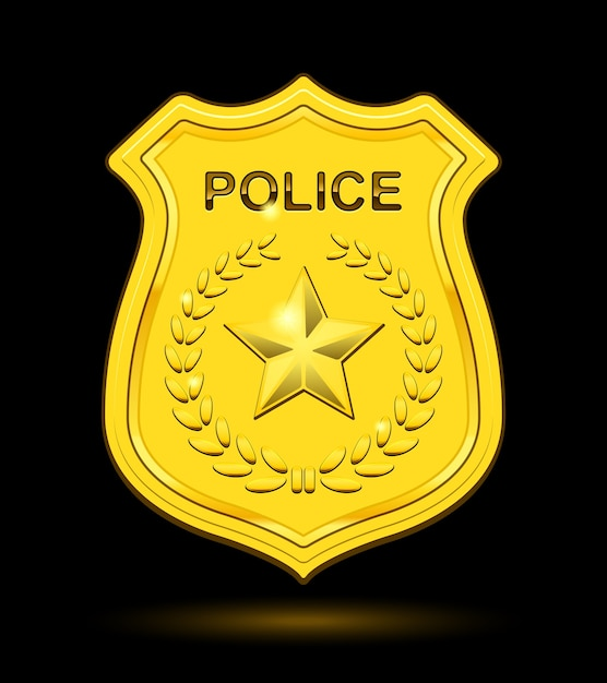 Gold police badge isolated Free Vector