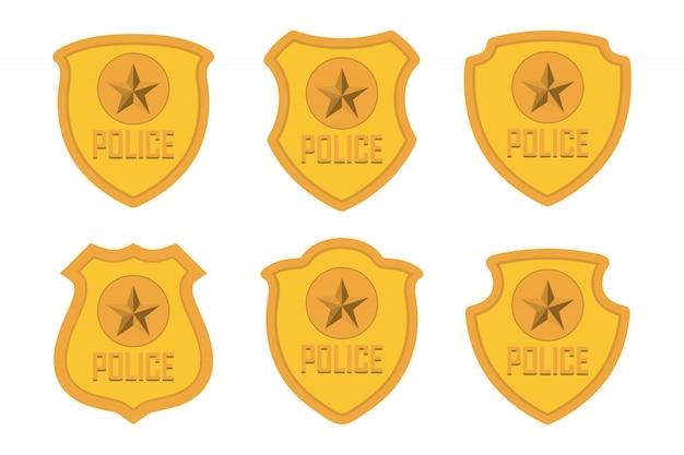 金警察バッジセット絶縁 Premiumベクター