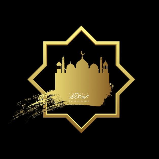Gold ramadan kareem with mosque geometry background Premium Vector
