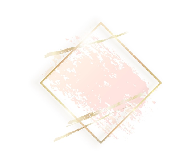 Золотая рамка ромба с пастельной ню-розовой текстурой, изолированные золотые мазки Бесплатные векторы
