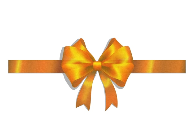 Gold ribbon and big bow isolated on white Free Vector