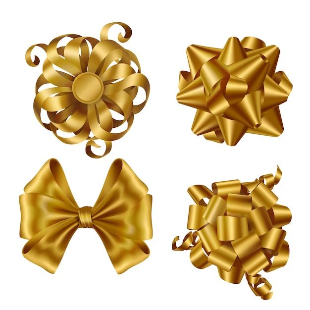 Gold ribbons and bows for wrapping present box set Free Vector