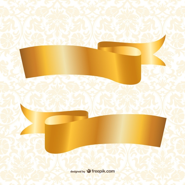 gold ribbons template vector free download