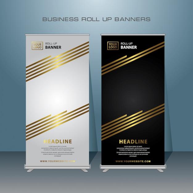 Gold roll up banner design Premium Vector