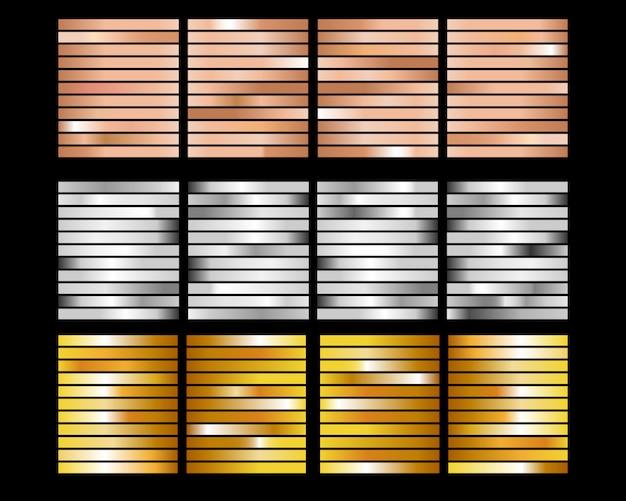 ゴールドローズ、ブロンズ、ゴールドホイルテクスチャグラデーション背景セット Premiumベクター