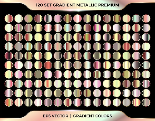 Gold, rose gold, copper and bronze gradient swatches mega set collection palette for border frame ribbon cover label templates Premium Vector
