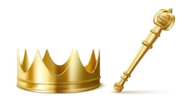 キングまたはクイーン用のゴールドロイヤルクラウンとセプター 無料ベクター