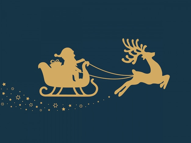 Gold santa sleigh stars blue background Premium Vector