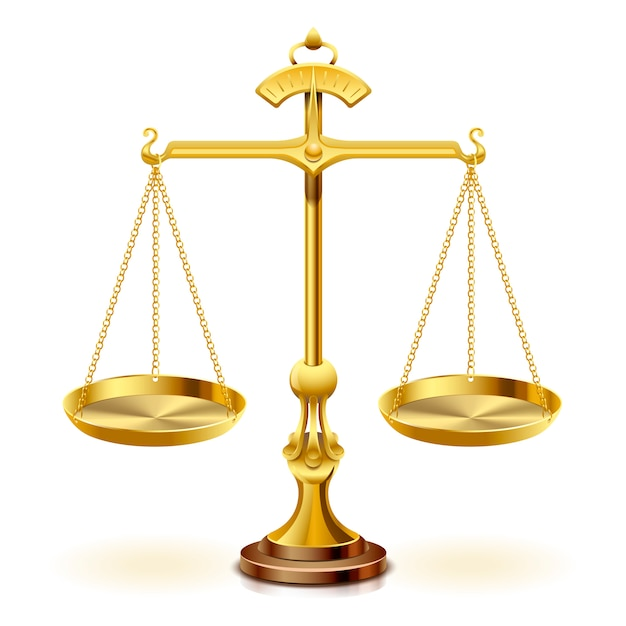 Золотая шкала правосудия на белом фоне. Premium векторы