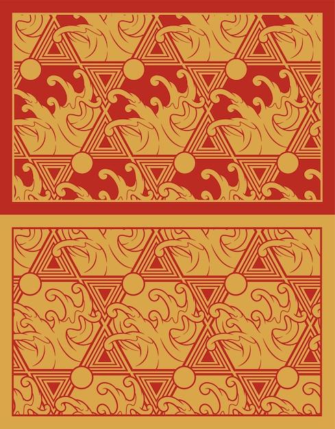 일본 테마에 파도 함께 골드 완벽 한 패턴입니다. 패브릭 인쇄, 장식, 포스터, 포장 및 기타 여러 용도에 적합합니다. 패턴 주위의 프레임은 별도의 그룹에 있습니다. 프리미엄 벡터