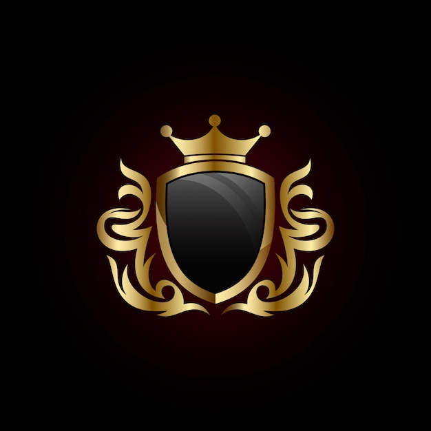 Gold shield with crown icon Premium Vector