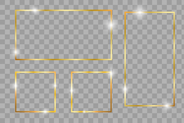 Gold shiny glowing vintage frame with shadows isolated on transparent Premium Vector