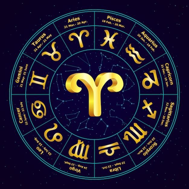 Золотой знак зодиака овен в круге. Premium векторы