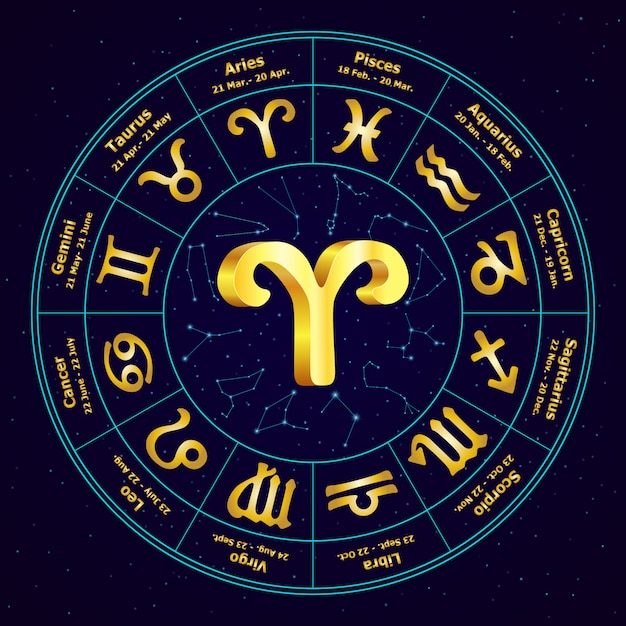 Gold sign of zodiac aries in circle. Premium Vector