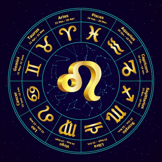 Gold sign of zodiac leo in circle Premium Vector