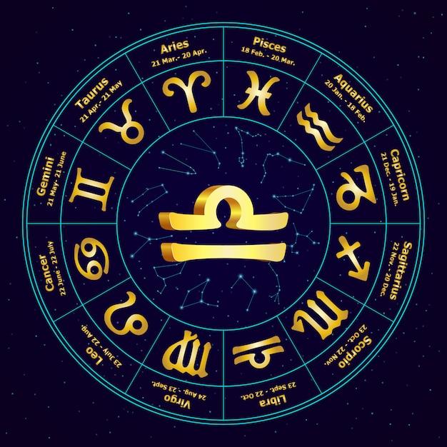 Gold sign of zodiac libra in circle Premium Vector
