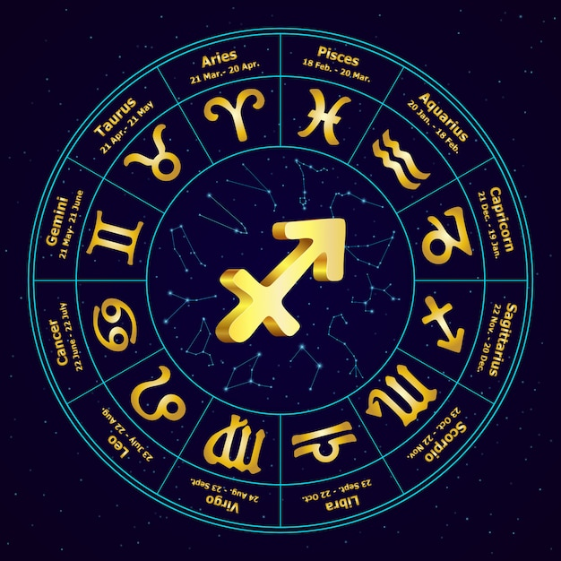 Gold sign of zodiac sagittarius in circle Premium Vector