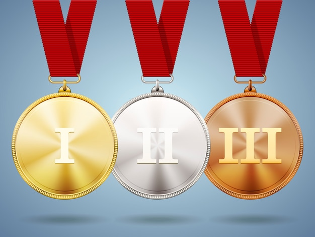 Золотые, серебряные и бронзовые медали на ленточках с блестящими металлическими поверхностями и римскими цифрами на один, два и три за победу и место в спортивных соревнованиях или деловых соревнованиях. Бесплатные векторы