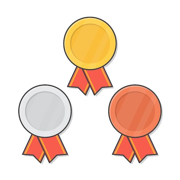 빨간 리본이 달린 금,은, 동메달 프리미엄 벡터