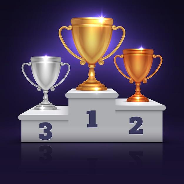 Золотая, серебряная и бронзовая кубок трофеев, приз кубок на подиуме победителя спорта, вектор пьедестала. illustrati Premium векторы