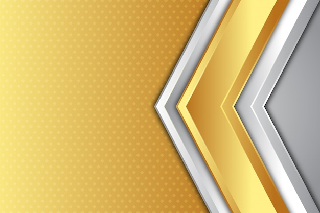 Gold and silver arrow direction background Premium Vector