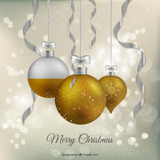 Gold and silver baubles background Free Vector
