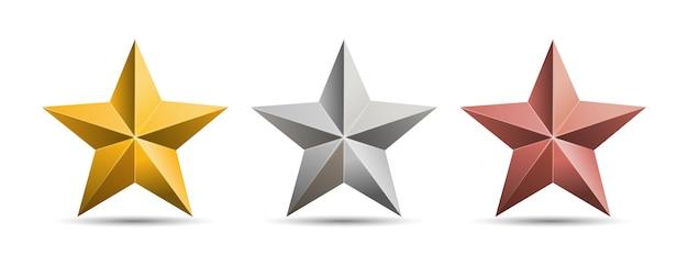 골드 실버 브론즈 금속 별 흰색 배경에 고립. 프리미엄 벡터