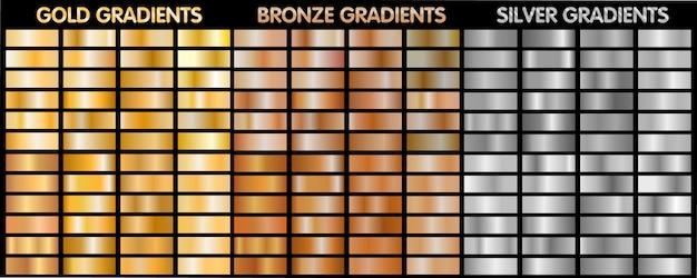 金、銀、青銅の金属のグラデーション。 Premiumベクター