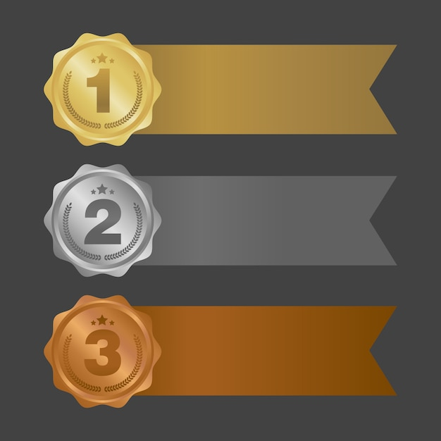 Gold silver and bronze ribbons. metal badges Premium Vector