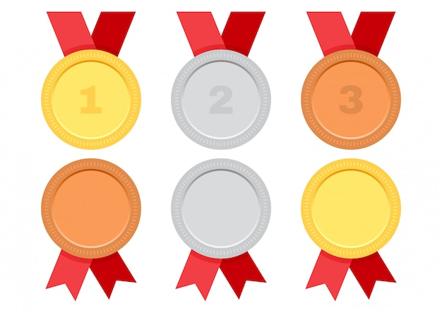 Gold, silver and bronze. set of award medals with red ribbon. Premium Vector