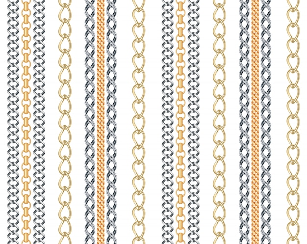Gold and silver chain jewelry seamless pattern. Premium Vector