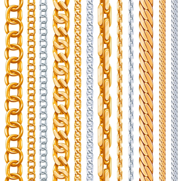 Gold and silver chains  set. link metallic, shiny element, object iron strong Free Vector