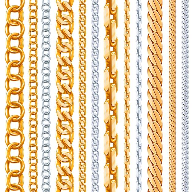 Set di catene d'oro e d'argento. collegamento metallico, elemento lucido, oggetto in ferro forte Vettore gratuito