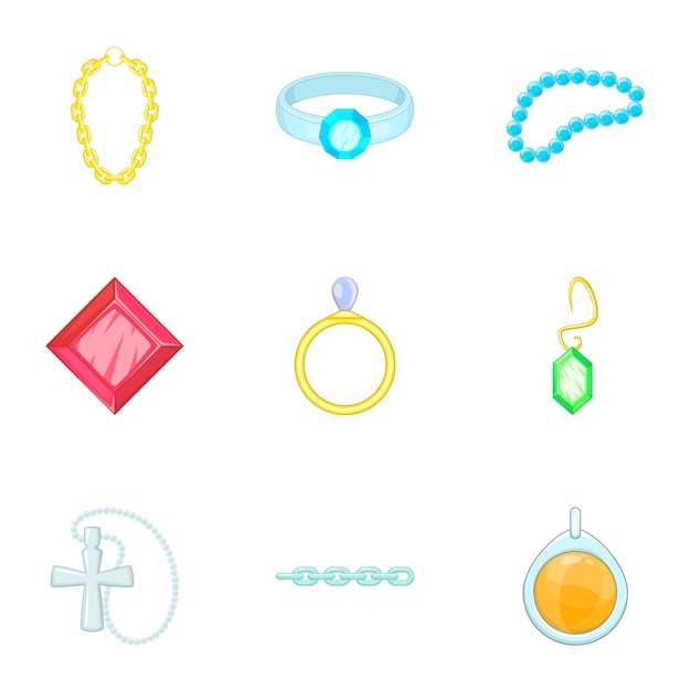 Gold and silver jewelry set, cartoon style Vector ...