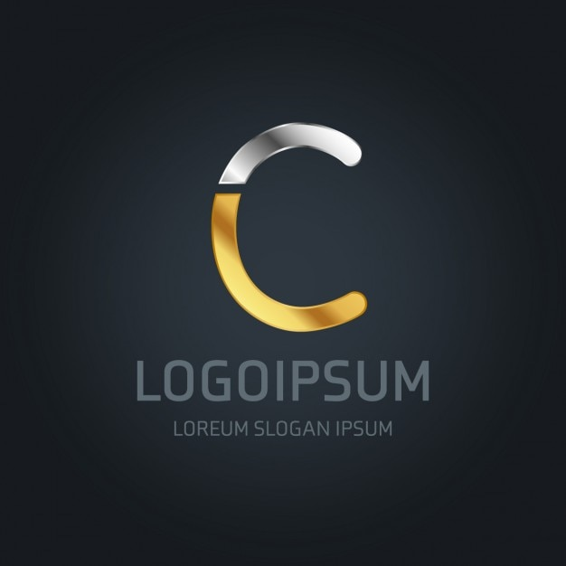 Gold and silver logo with the letter c Free Vector