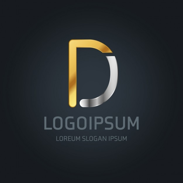 Gold and silver logo with the letter d Free Vector