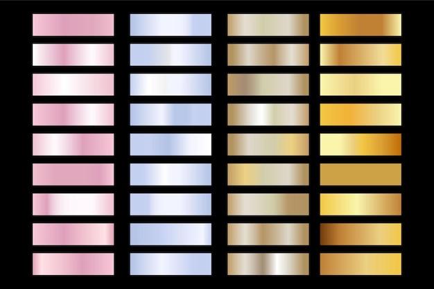 골드, 실버, 핑크 로즈 텍스처. 빛나는 황금 금속 호일 그라데이션 세트 프리미엄 벡터