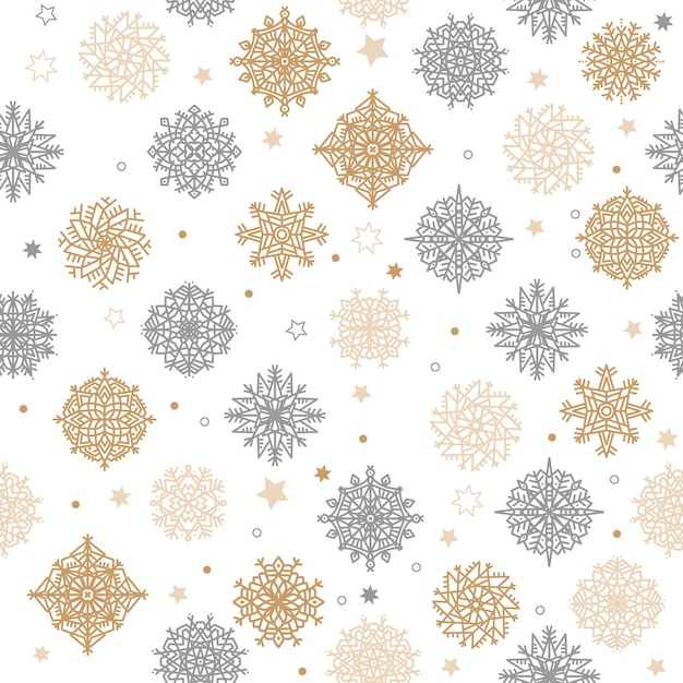 Gold and silver snowflakes and stars seamless pattern on a white background. Premium Vector