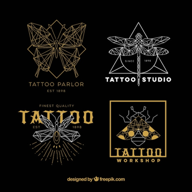 Gold and silver tattoo logo collection Free Vector