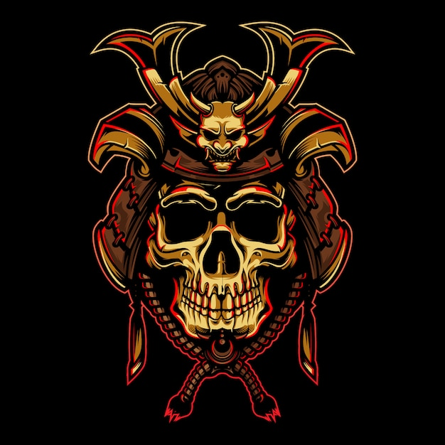 Gold skull with samurai helmet illustration Premium Vector