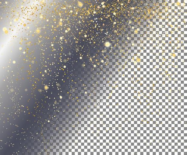 Gold snow on transparent Premium Vector