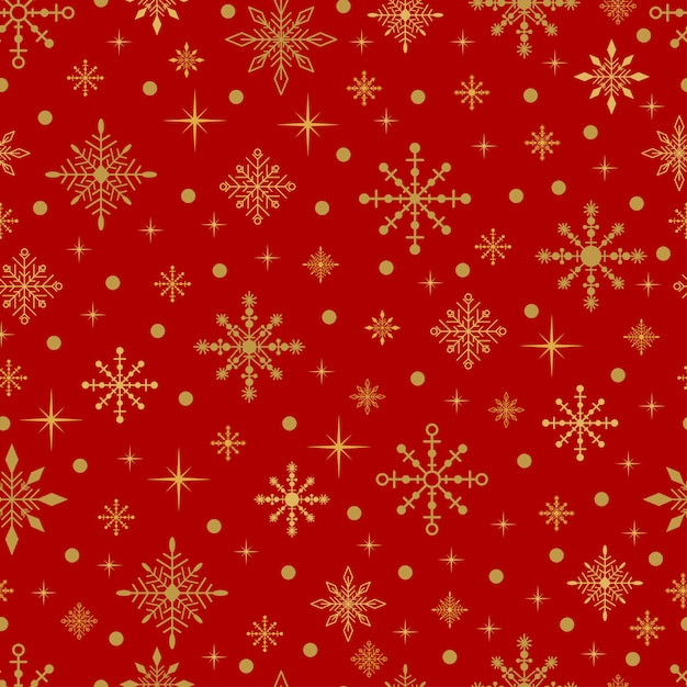 Gold snowflakes and stars on a red background. vector seamless christmas pattern. Premium Vector