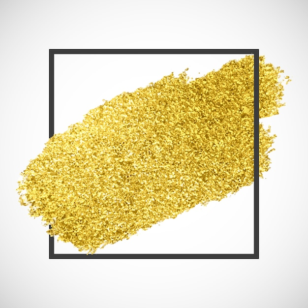 Gold sparkle streak on a black frame Free Vector