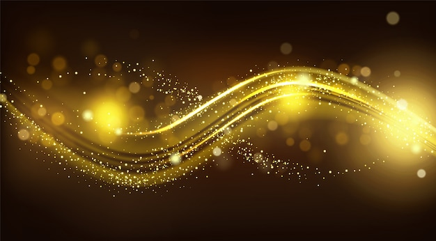 Gold sparkle wave on black blurred background. Free Vector