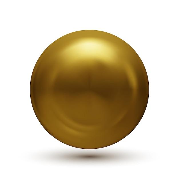 白で隔離の影と金球 Premiumベクター