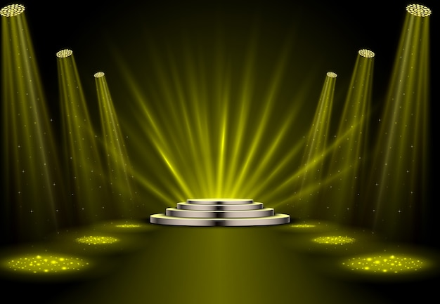 Gold spotlights with white podium on dark background Premium Vector