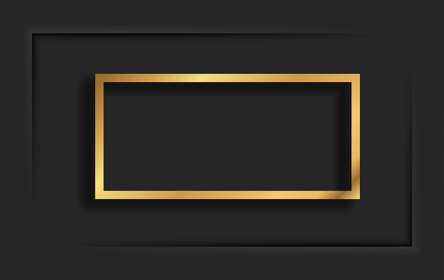 Gold square vintage frame with shadow on black background. golden luxury rectangular border - realistic illustration Premium Vector